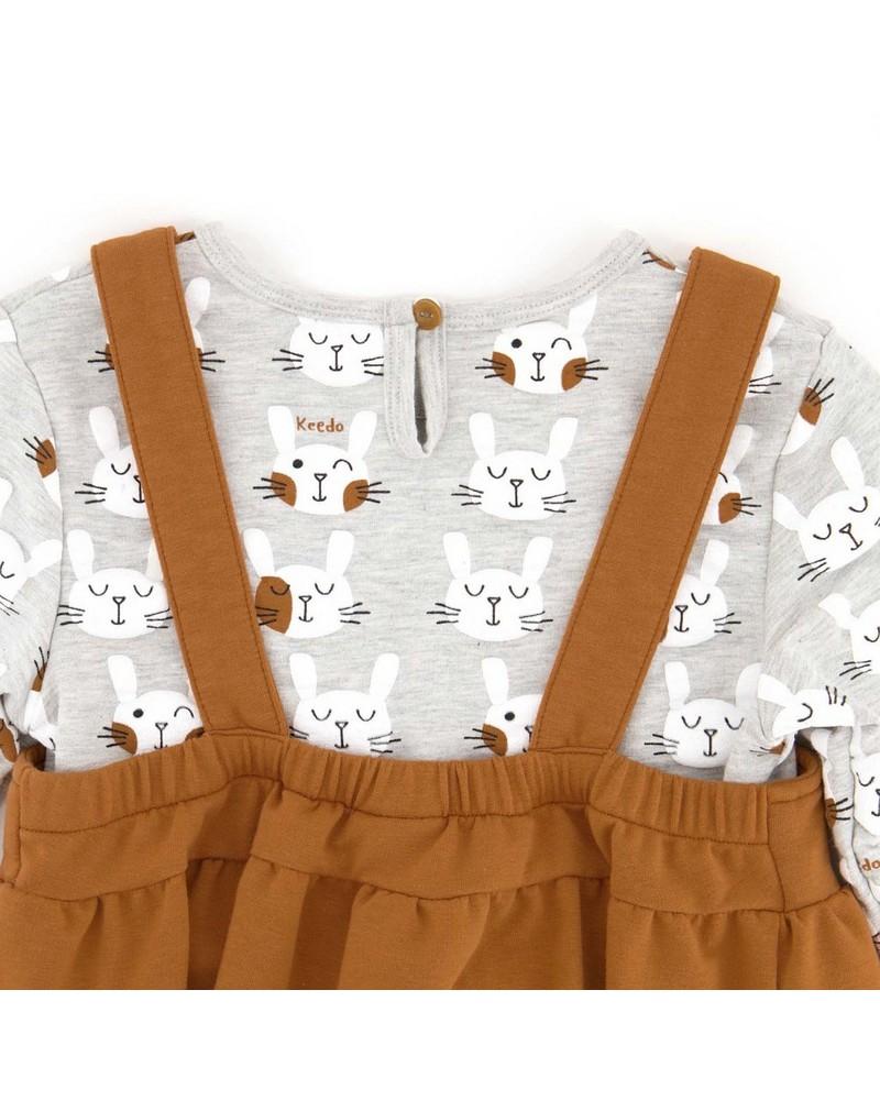 Girls Bunny Pinni Set -  camel