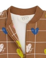 Baby Girls Heart Grid Soft Jacket -  brown