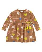 Heart Grid Dress -  brown