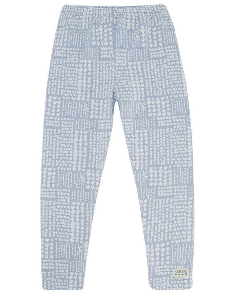Checkered Heart Legging -  midblue