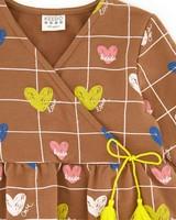 Girls Heart Grid Dress  -  brown