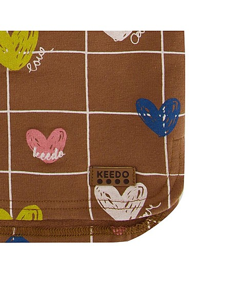 Heart Grid Hoodie Set -  brown