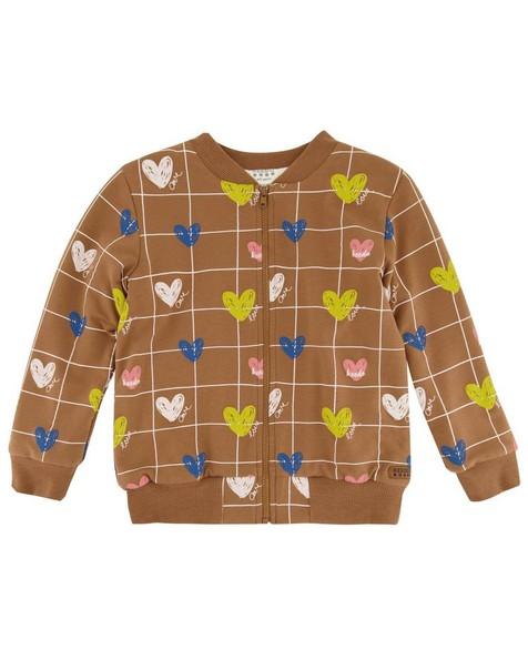 Girls Heart Grid Soft Jacket -  brown