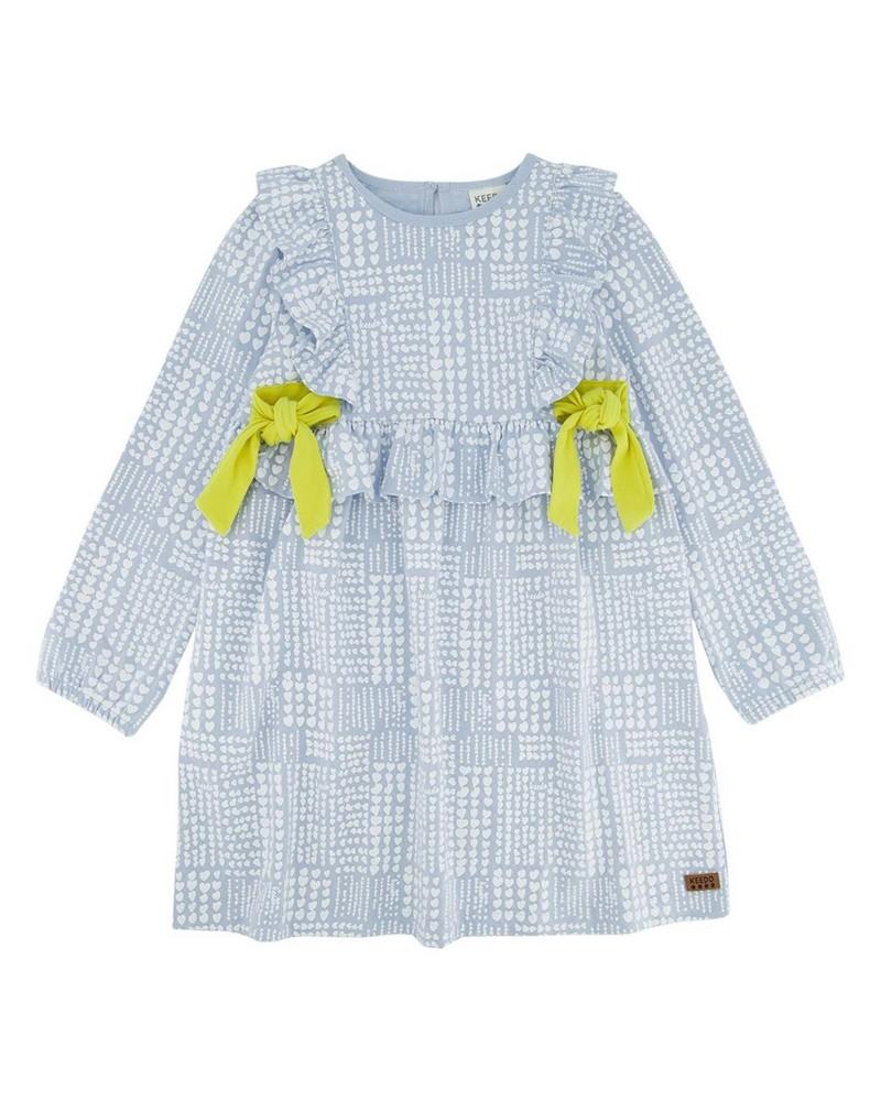 Girls Checkered Heart Dress -  midblue