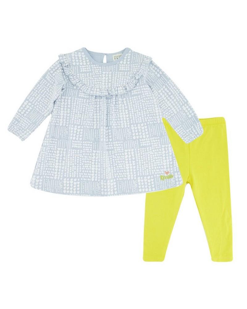 Baby Girls Checkered Heart Set -  midblue