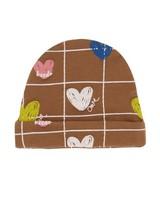 Baby Girls Heart Grid Beanie -  brown