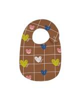 Baby Girls Heart Grid Bib -  brown