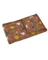Baby Girls Heart Grid Blanket -  brown