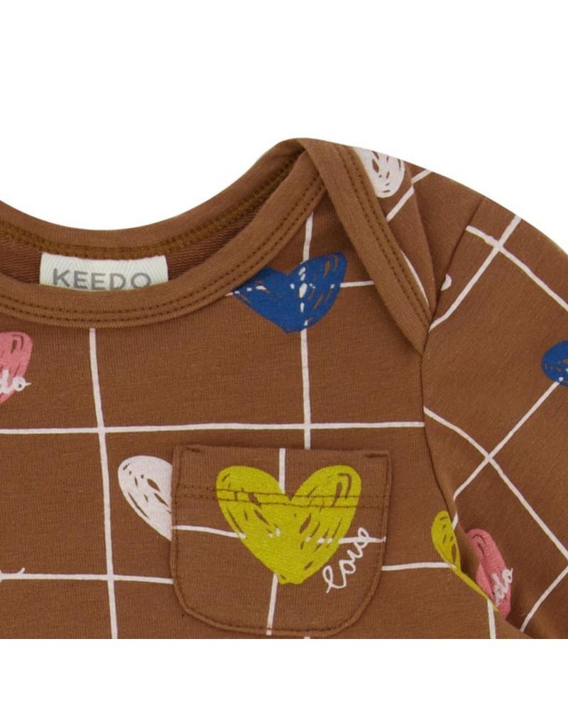 Baby Girls Heart Grid Dress Set -  brown