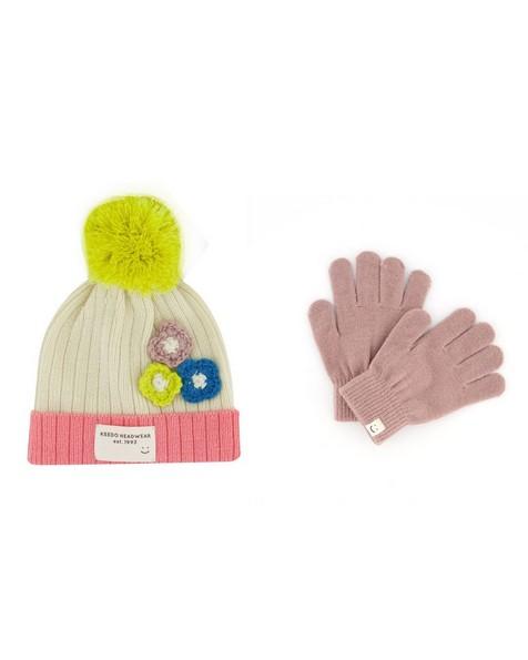 Girls Sofia Beanie & Glove Set -  dustypink