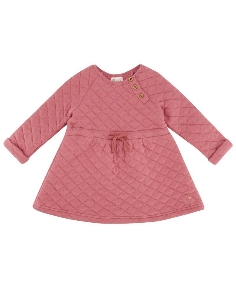Baby Girls Mala Quilt Dress  -  dustypink
