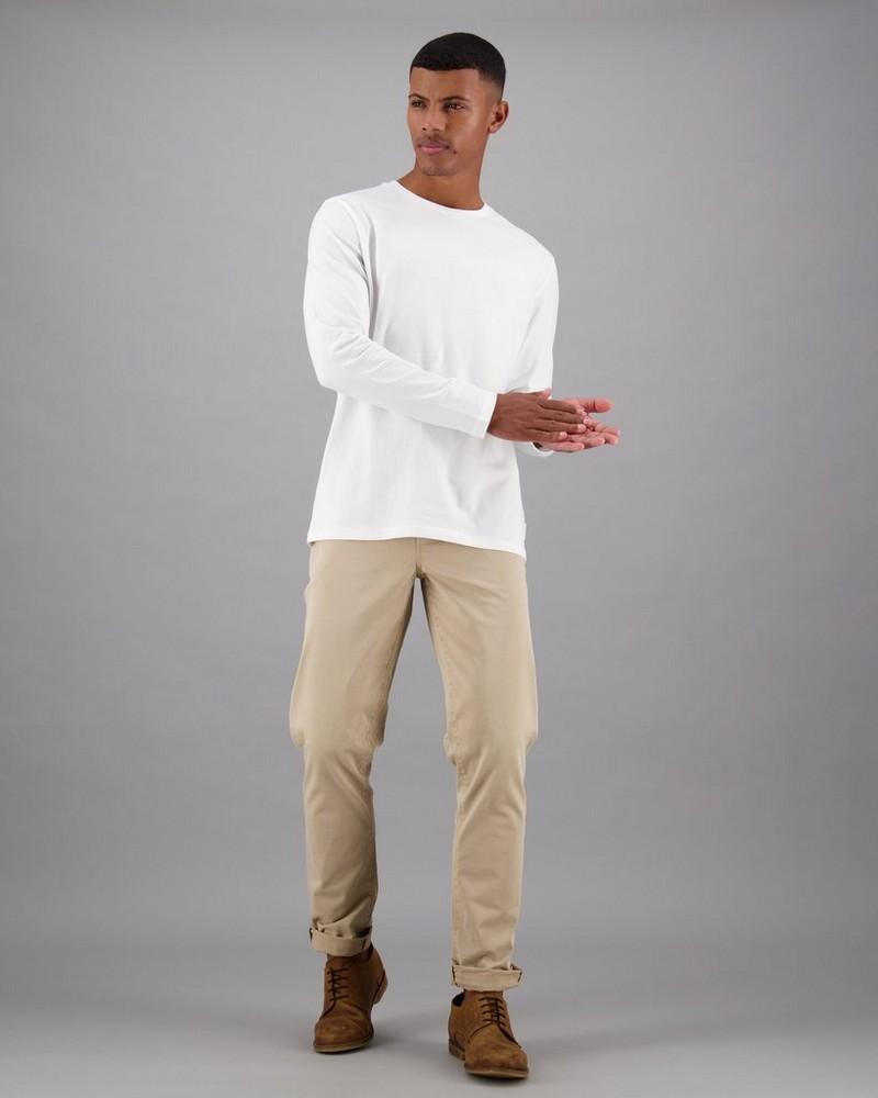 Men's Deon Long Sleeve Standard Fit T-Shirt -  white