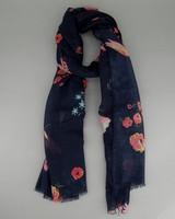 Women's Clover Floral Scarf -  navy