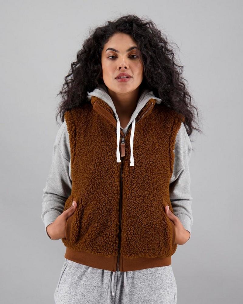Women's Candy Sleeveless Jacket -  chocolate