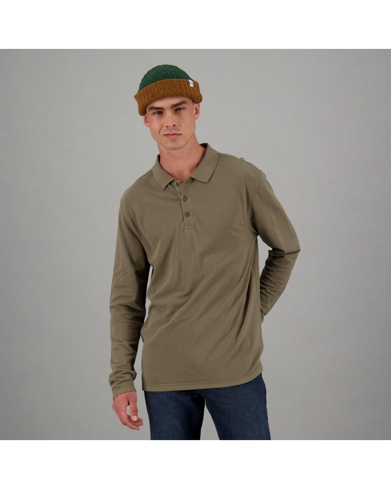 Men's Willis Long Sleeve Standard Fit Golfer -  olive