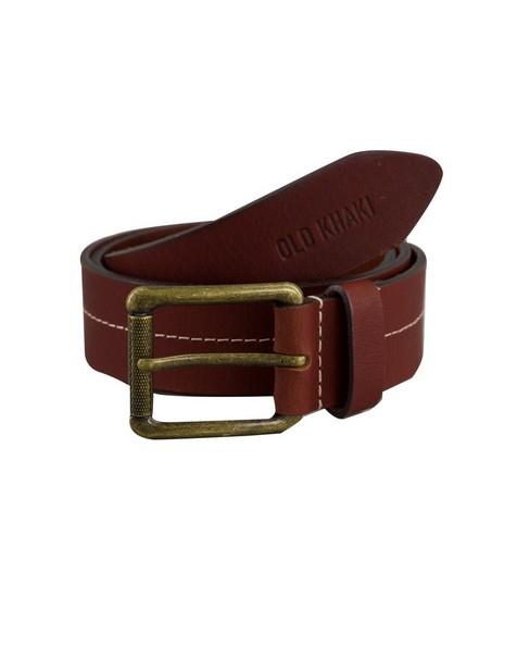 Jett Centre Stitch Belt -  brown