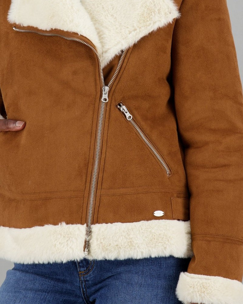 Women's Charley Shearling Jacket -  tan