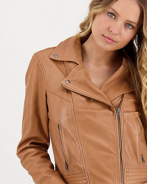 Women's Thabisa Leather Jacket -  tan