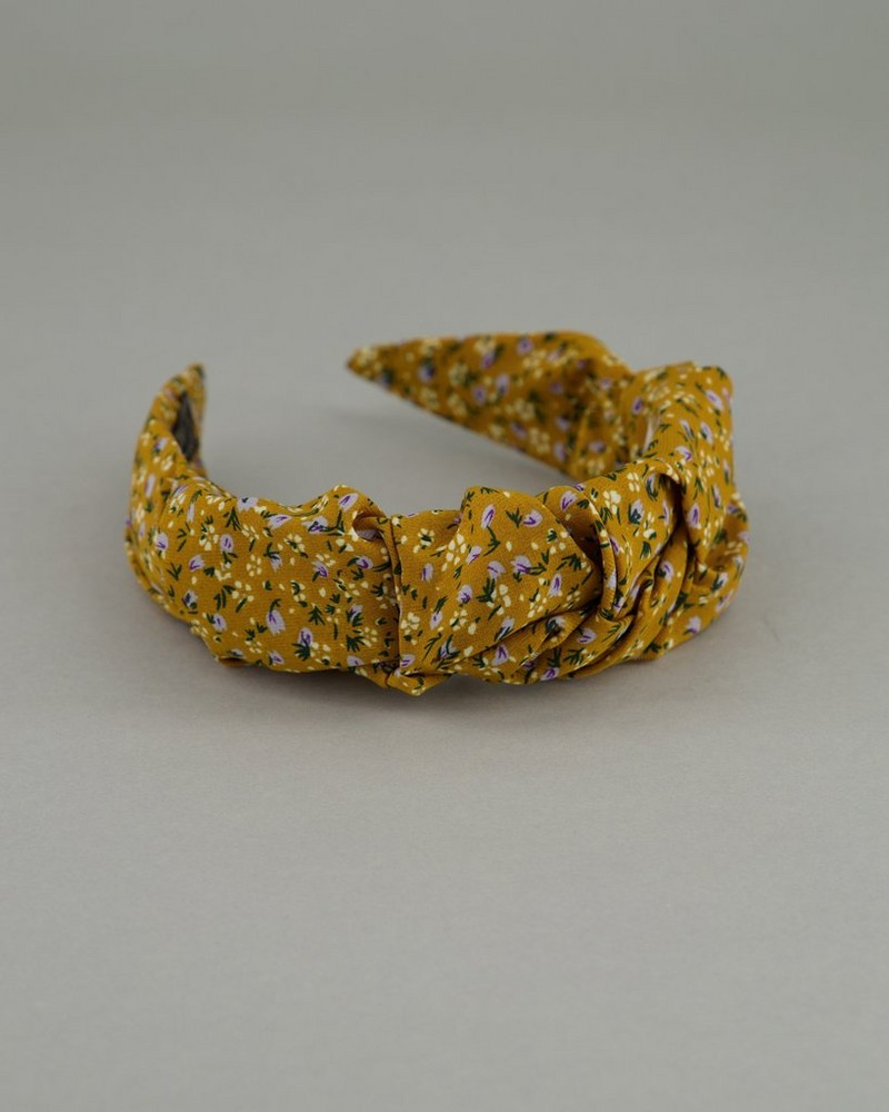 Women's Lacey Ruched Alice Band -  yellow
