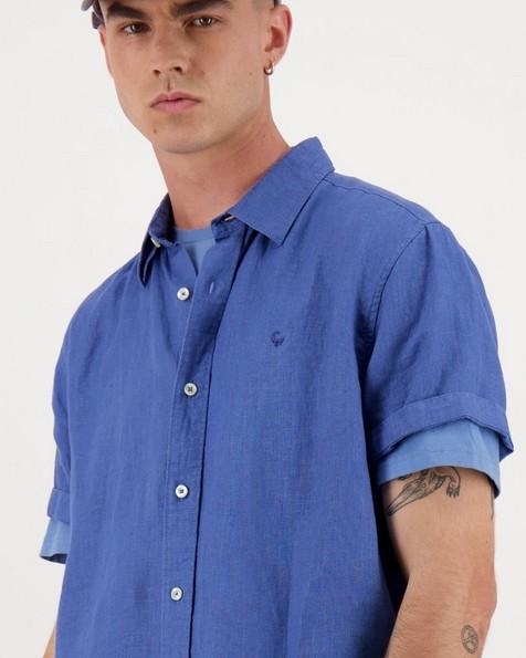 Men's Laz Slim Fit Linen Shirt -  blue