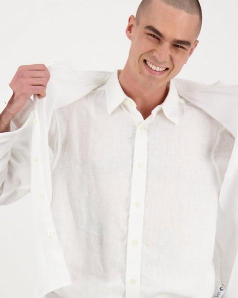Men's Dustin Slim Fit Linen Shirt -  white