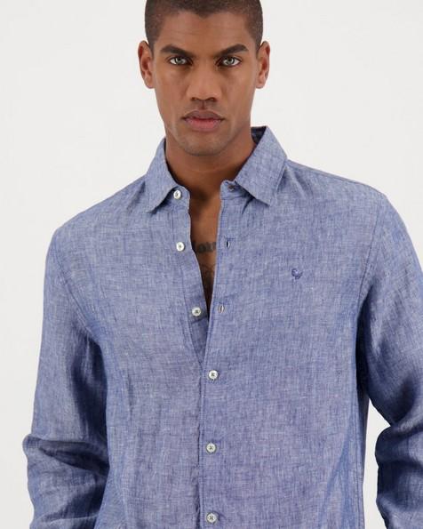 Men's Dustin Slim Fit Linen Shirt -  indigo