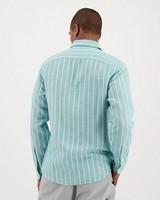 Men's Vic Slim Fit Linen Shirt -  aqua