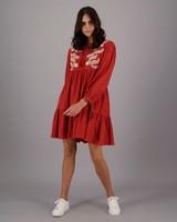 Women's Bardot Tiered Dress -  rust