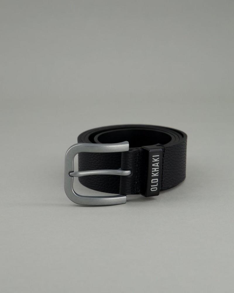 Zach Pebbled Branded Belt -  black