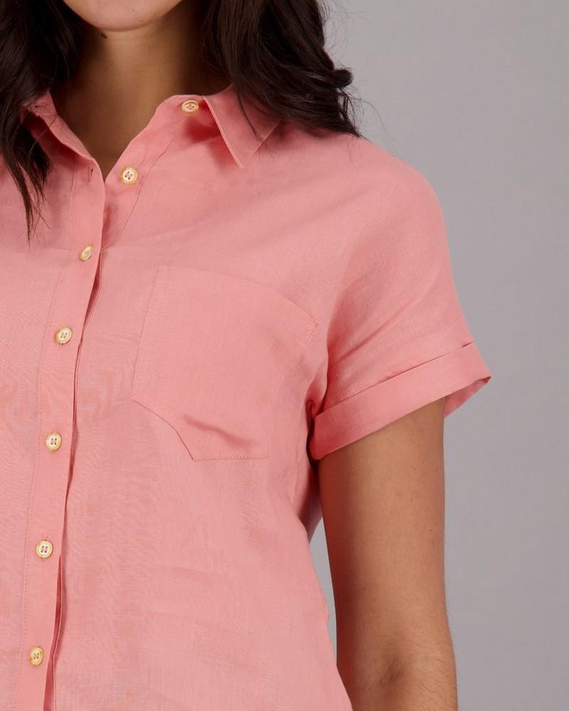 Women's Andie Linen Shirt -  peach