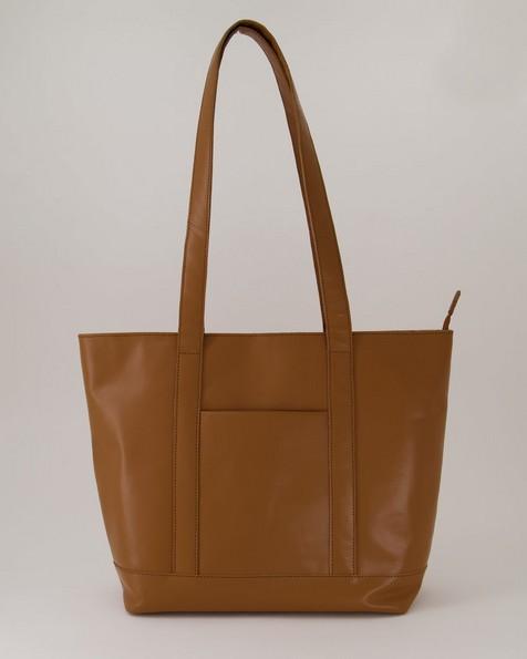 Women's Taya Leather Shopper Bag -  tan