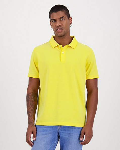 Men's Robbie Relaxed Fit Golfer -  yellow