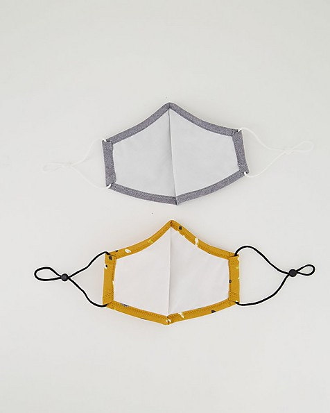 2-Pack Brushstroke Fabric Face Masks -  yellow