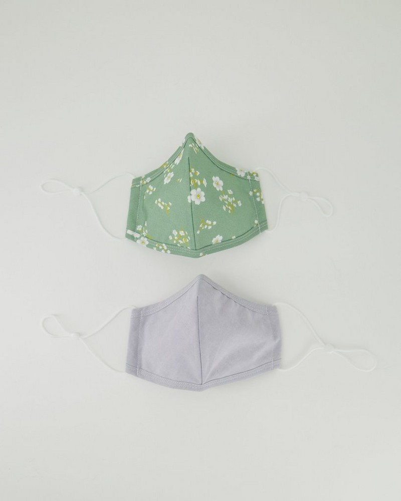 2-Pack Ditsy Fabric Face Masks -  sage