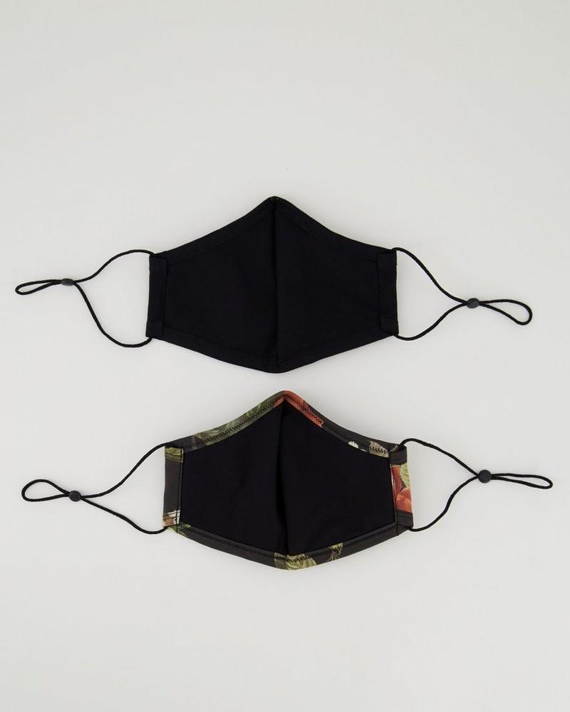 2-Pack Large Floral Fabric Face Masks -  black