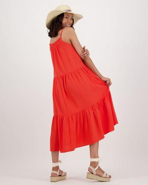 Women's Lori Tiered Dress -  coral