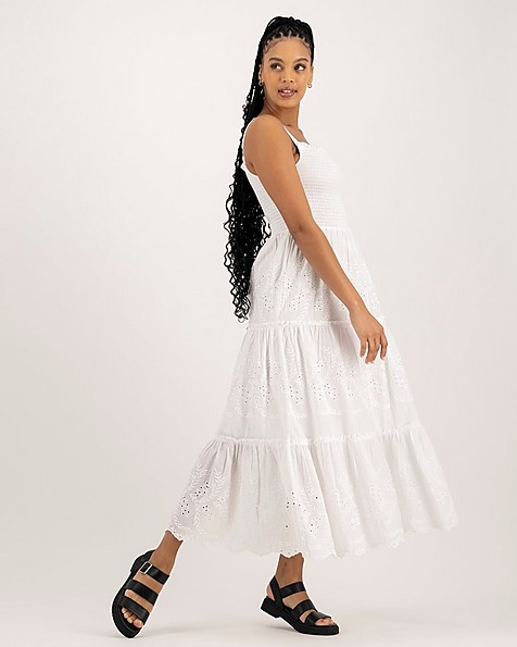 Women's Pearl Tiered Dress -  white