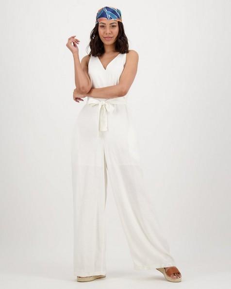 Women's Saffron Linen Jumpsuit -  white