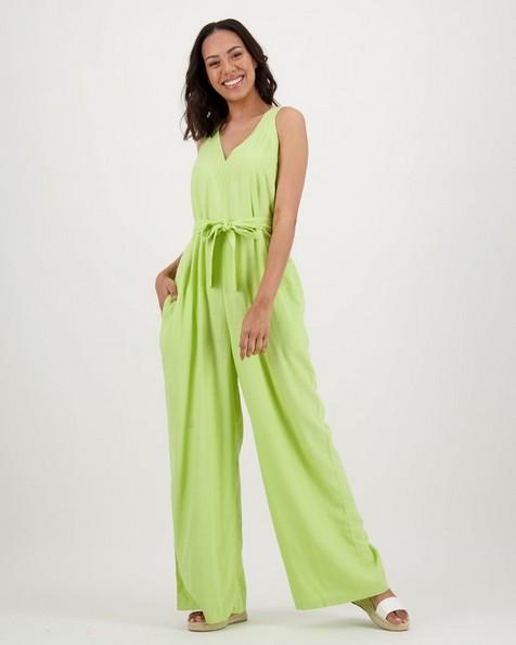Women's Saffron Linen Jumpsuit -  lime