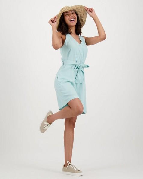 Women's Tansy Linen Playsuit -  aqua