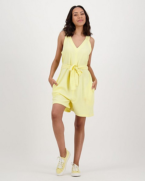 Women's Tansy Linen Playsuit -  yellow