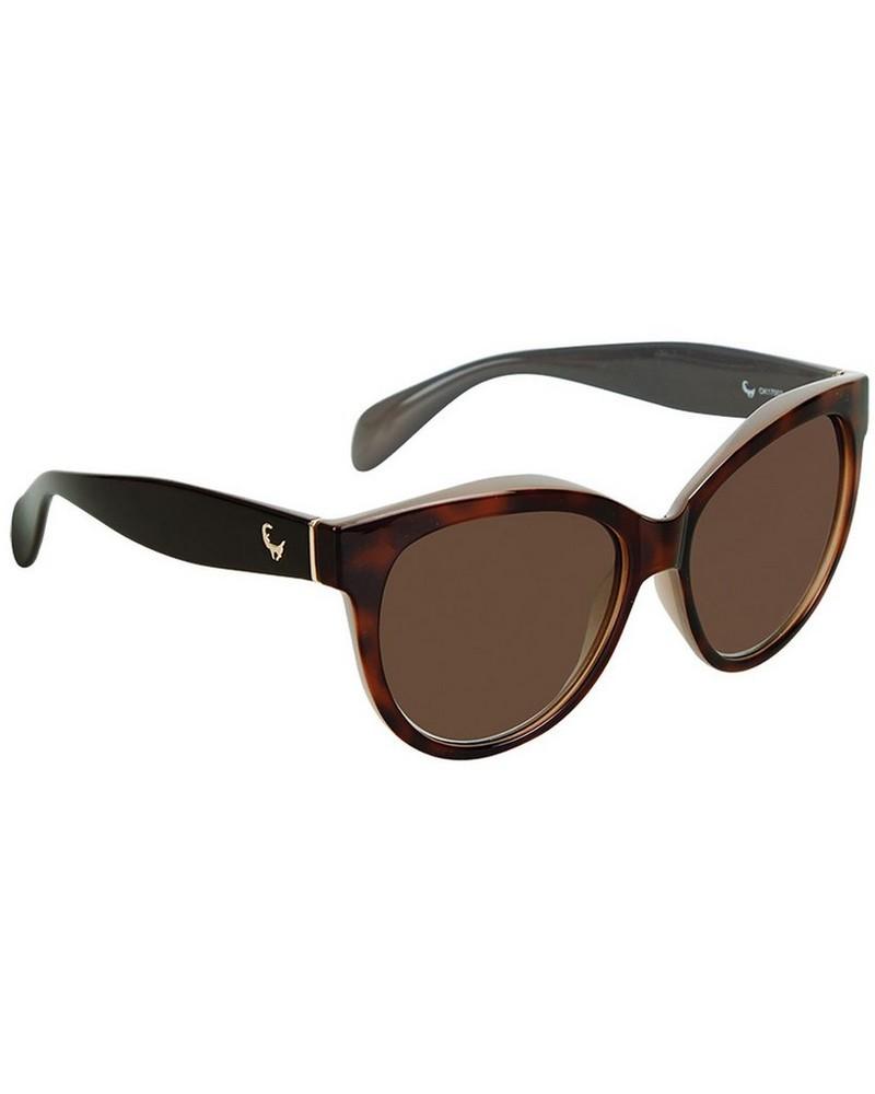 Women's Oversized Cat-eye Sunglasses -  brown-gold