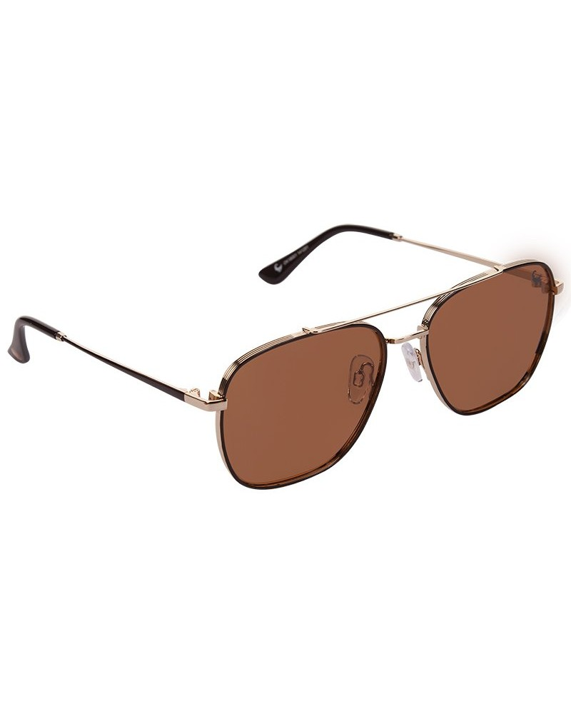 Men's Polarised Metal Sunglasses -  brown-gold