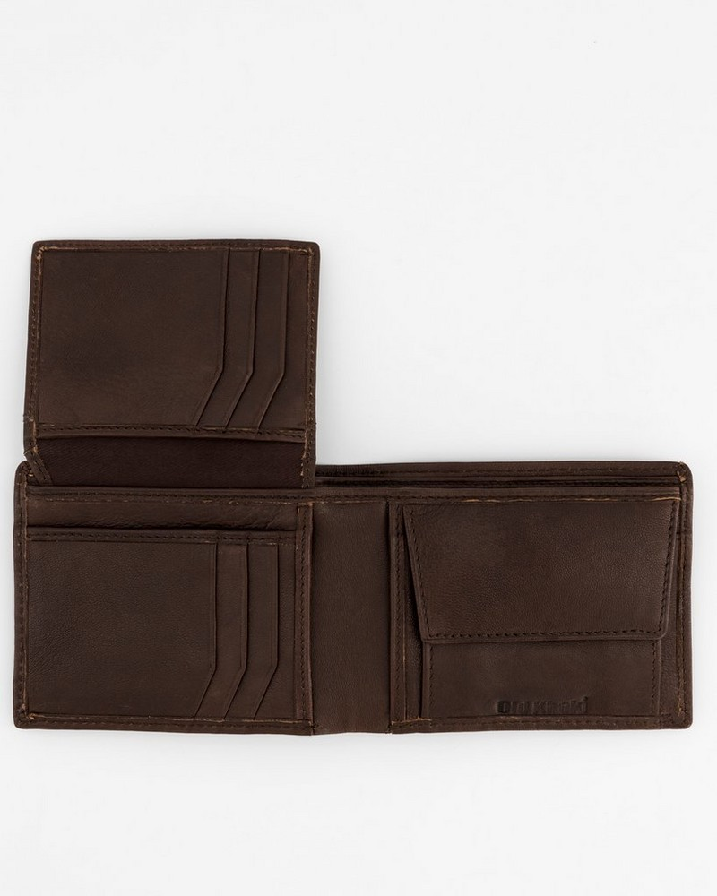Men's Dale Foldover Leather Wallet -  brown-brown