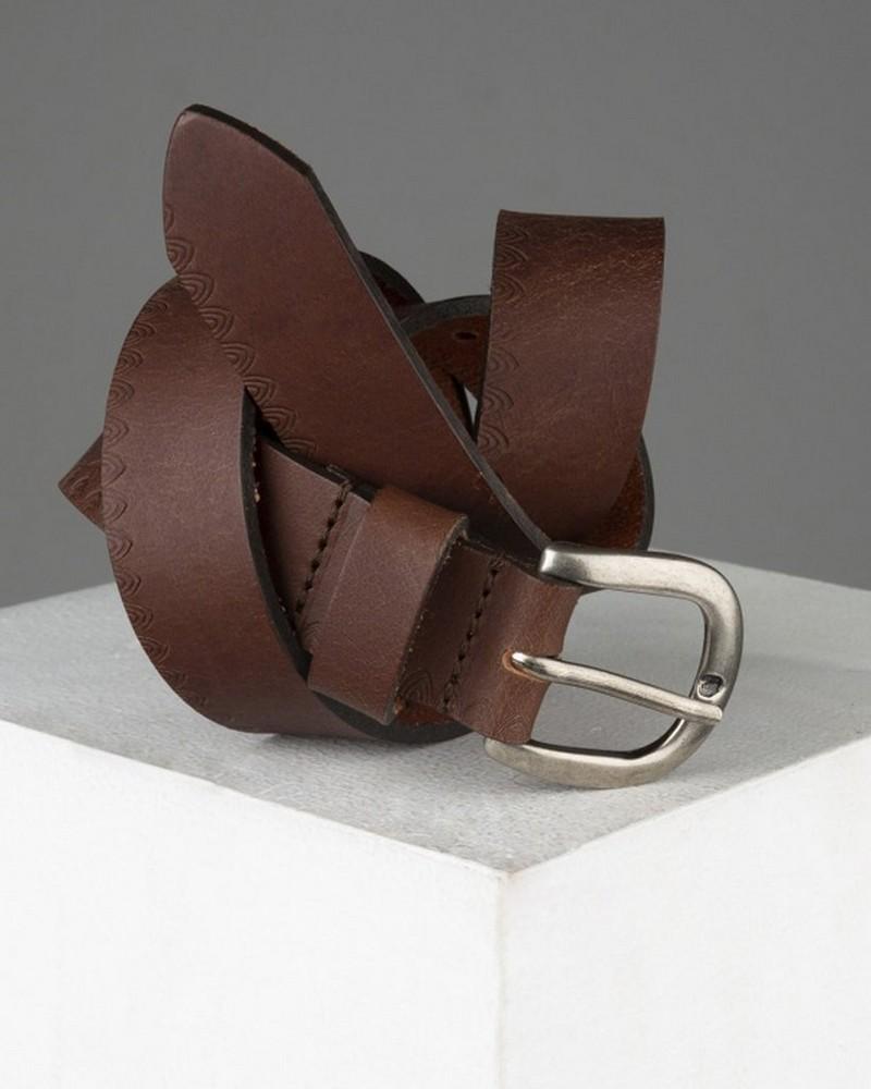 Maylee Embossed Detail Belt -  brown