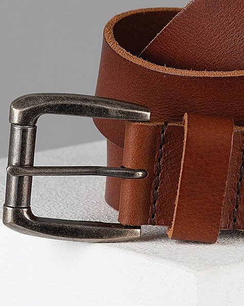 Anson Lived-In Leather Belt -  tan-tan