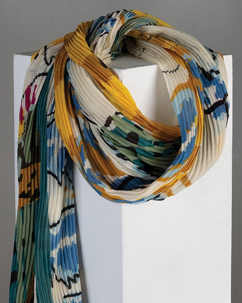 Adrienne Abstract Printed Scarf -  milk-assorted