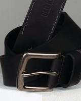 Talon Stitch Detail Leather Belt -  black