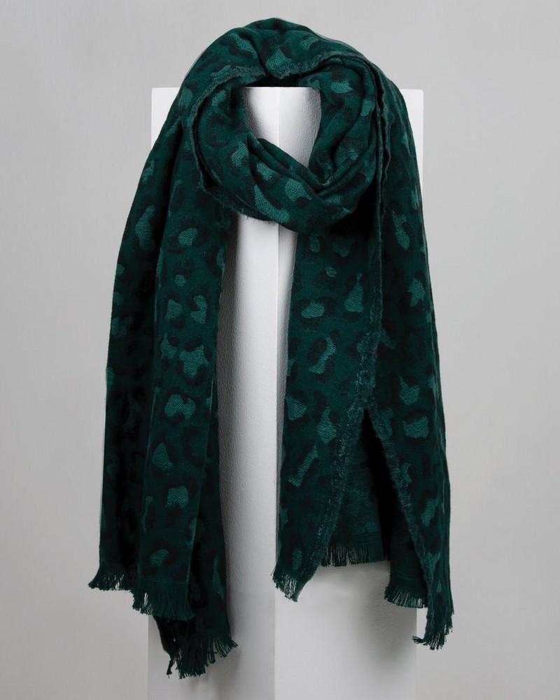 Zainab Warmhandle Leopard Print Scarf -  darkgreen-emerald