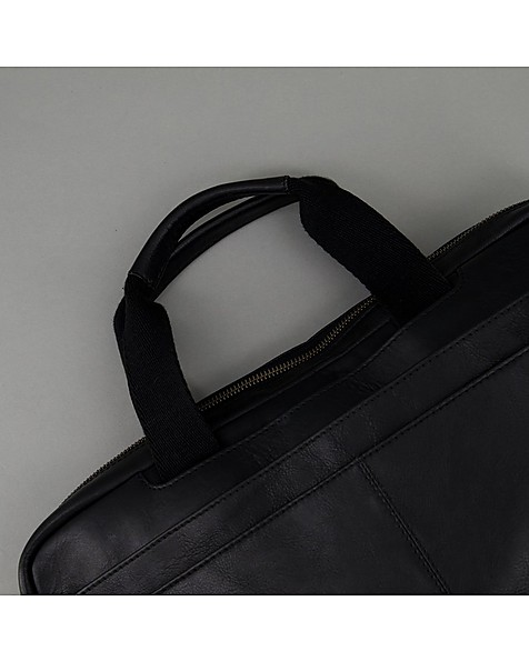 Men's Steve Leather Laptop Bag -  black